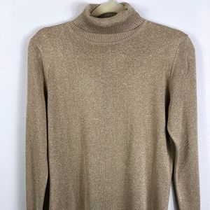 Gold Shimmery Long-sleeve Turtle-neck